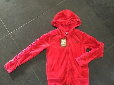 NWT Juicy Couture New & Genuine Red Velour Hoody Girls Age 8 With Juicy Logo