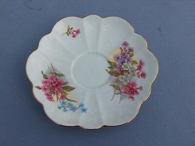 China Saucer Only Shelley Flowers Dish Plate Gold Trim Fine Bone China