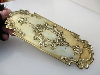 Antique Brass Finger Plate Push Door Handle Vintage Gilt Leaf Urn Floral Cherubs