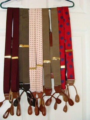 Men's Suspenders Braces Mixed Lot Of 5 Prs. With Leather Button Fittings - Euc