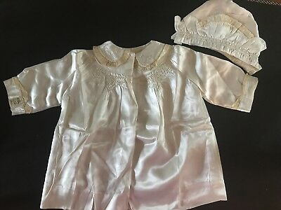 Gorgeous Antique Baby Christening/Baptism Hat & Coat-Smocked & Embroidered