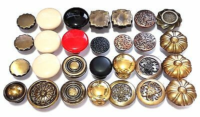 28 Knobs Cabinet Drawer Pulls Mixed Lot DIY Project Brass Porcelain Vintage