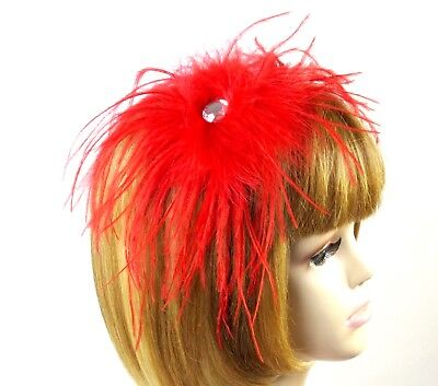 Red Ostrich Feather Crystal Fascinator Hat Hair Pin Decoration Society Ladies