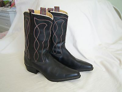 VINTAGE COWBOY BOOTS BLACK ROCKABILLY STITCHING Acme ? 1940's 50's Western