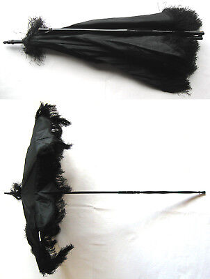 Antique Early Victorian Black Silk Fringed Carriage Parasol Umbrella 1850-1870