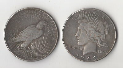 1769 & 1919 Peace Dollars Toned Silver Plated Novelty Fantasy Issue Coins