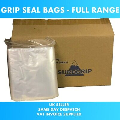 Grip Seal Plastic Bags Small Medium Large Resealable Self Plain Clear All Sizes