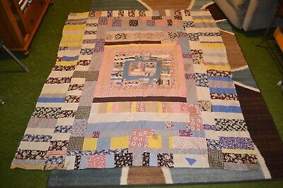 "Vintage Quilt Top Hand Stitched - Multi Colored- 70""x60""               #4"