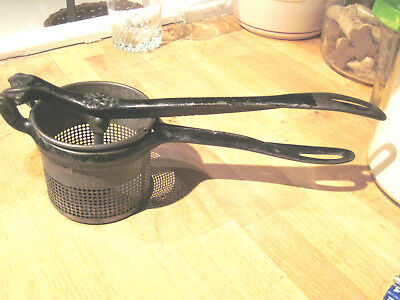 Antique Vtg Cast Iron Potato Ricer Masher Steel Strainer silver co.ny dated 1887