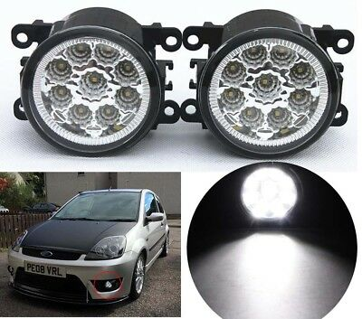 2X LED Front Fog Lights Lamps DRL For Ford Fiesta MK6 MK7 Ford C-Max Focus