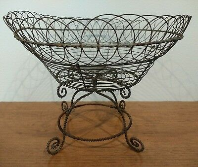 ~FANCY ANTIQUE 19thc FRENCH WIRE WARE WIREWARE PEDESTAL BASKET, A LARGE BEAUTY~