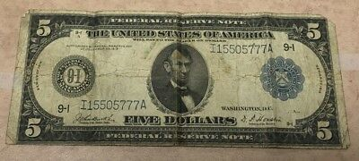 1913 Five $5 Dollar Bill Federal Reserve Note