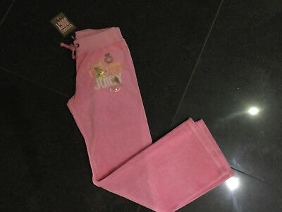 NWT Juicy Couture New & Gen. Pink Cotton Tracksuit Pants With Logo Girls Age 8