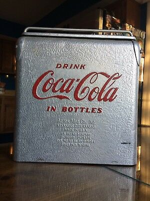 Extremly rare slvr crinkled aluminum coca-cola 1940-1950 cooler with red writing