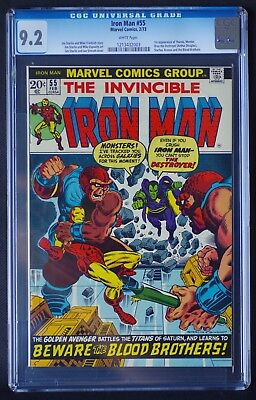 Iron Man 55 CGC 9.2 WHITE PAGES NM Marvel 1973 Avengers: Infinity War THANOS