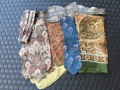 Lot of 5 Vintage Liberty London Silk Cotton Ties Ascot Scarf Floral Paisley