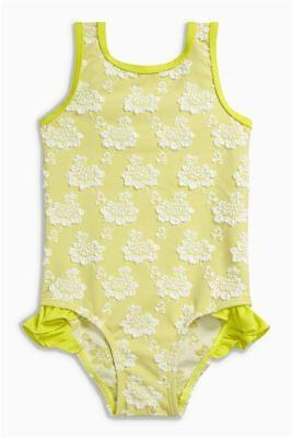 NEXT Baby Girls Lime Green + White Floral Pattern Swimsuit - BNWT