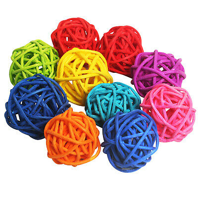 10PC Set of Multicoloured Wicker Rattan Balls DIY Decorations  - By TRIXES