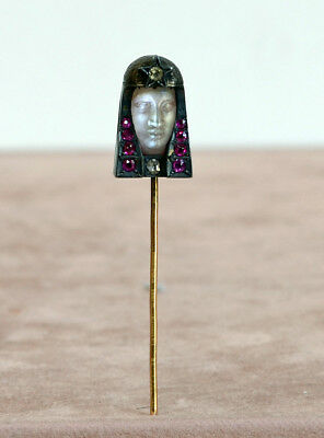 Vintage VICTORIAN Carved Moonstone Goddess with OMC Diamonds and Ruby Stick Pin