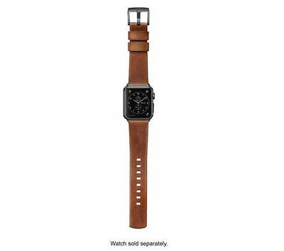 Nomad Leather Watch Strap for Apple Watch 38mm Brown with Black Lugs - In Box UD