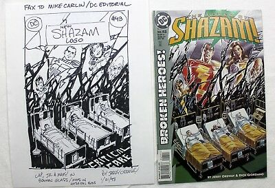 Original Comic Art Shazam 43 Cover Prelim by Jerry Ordway Signed