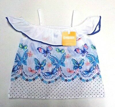Girl's Size 2T Gymboree Cute Butterfly Print Off The Shouler Top Nwt #6337