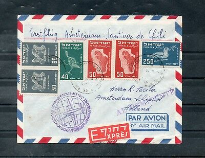 Israel Scott #C2-C4, C6 on Cover from Tel Aviv to Amsterdam and then onto Chile!