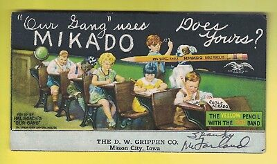 Hal Roach's OUR GANG ink blotter original 1920's/30's signed by Spanky McFarland