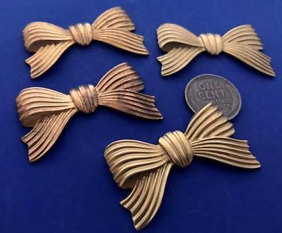 Vintage Large 24 x 43mm Brass Bow Stampings Findings 4