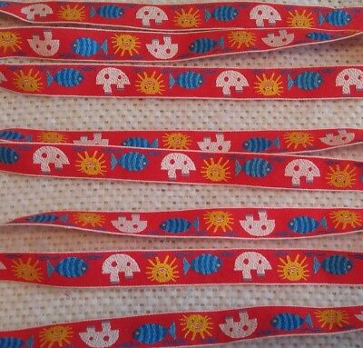 """Vintage 1970s Embroidered Jacquard Red Trim OCEAN FISH SHIP & SUN ¾""""Wide 10 Yds"""