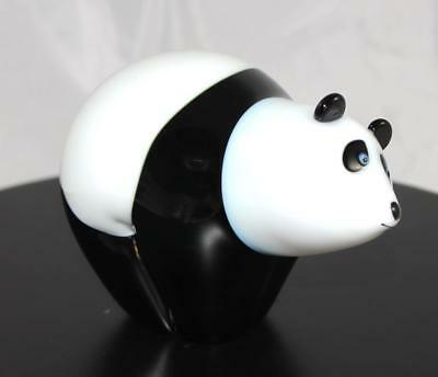 Glass Panda Statuette - Orient & Flume - New From Gallery - (6078)