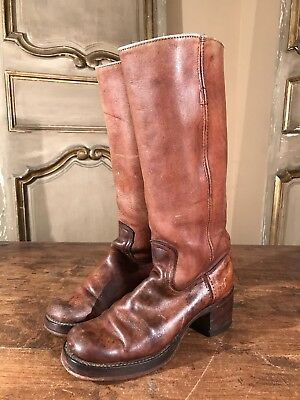 Vintage Frye Women's Tall Campus Riding Boots In Size 5.5 B Black Label 60's