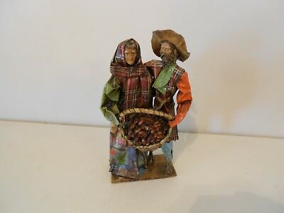 "Papier Paper Mache Farm Couple with Basket of Beans Stands 12.75"" x 5.75"" Wide"