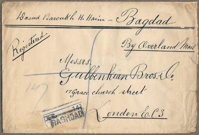 1925 OVERLAND MAIL Westbound REGISTERED COVER Baghdad Haifa to London England