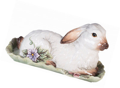 Fitz and Floyd Fattoria Rabbit Covered Butter Dishes, Tan