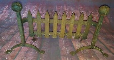 Antique Vintage Old Cast Iron Heavy Solid Fire Guard Grate  Fire Place Front