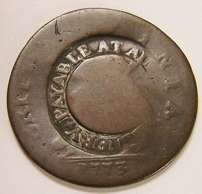 Great Britain - 1773 - Half Penny - KM#601 - Counterstamped ..Payable At..