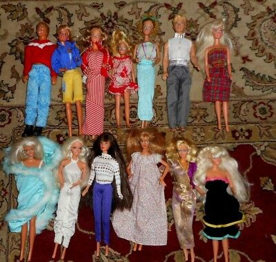 Vintage Rare Barbies Lot of 13 Skipper Ken 1966-1968 W/Outfits-Clean!