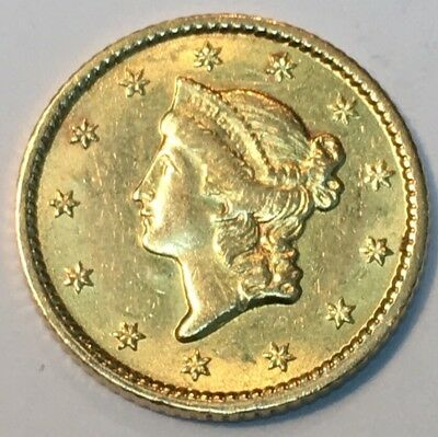 1853 $1 Type 1 Gold Coin Ch AU Sharp !!