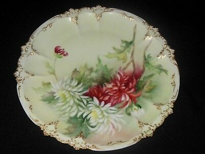 Gda Haviland Limoges Hand Painted Gold Embossed Rim Plate Red White Mums  1900