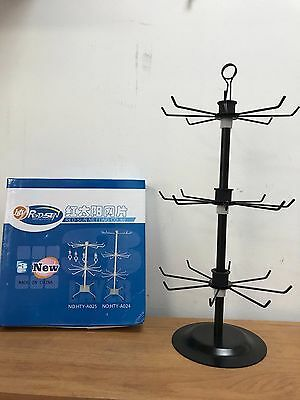 DELUXE 18 INCH BLACK SPINNING DISPLAY WIRE RACK new 3 fully adjustable levels