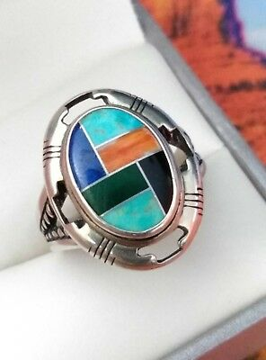 Carolyn Pollack Relios Sterling Silver Multi Stone Inlay Ring Size 8