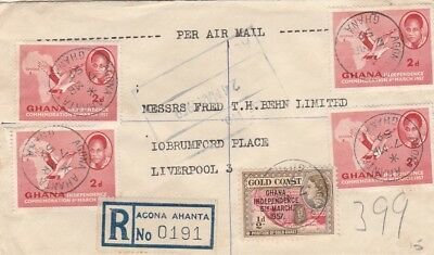 Ghana 1959 Registered Cover From To U.k.with 5 Stmps,; Sealing Wax On Back