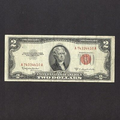 $2 United States Note - 1953 C Red Seal - Aa - Circulated