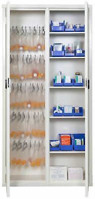 """Medical Storage Cabinet with Cam Lock, 72"""" H, White  1 EA"""