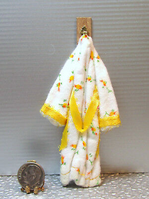 Dollhouse Miniature White Floral Bathrobe with Yellow Trim Mounted on Hook