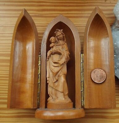 Carved Wood Travel Shrine Madonna Child Statue 5.5 in Icon Bullet-shaped