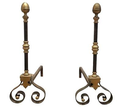 Pair Of Early 18Th Century Iron And Brass Fire Andirons