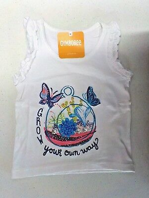"Girl's Size 2T Gymboree Cute ""grow Your Own Way"" Ruffle Tank Nwt #6345"