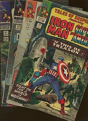 Tales of Suspense 70,73,79,81 ~ 4 Book Lot * 1st Non-WWII Red Skull! Jack Kirby!